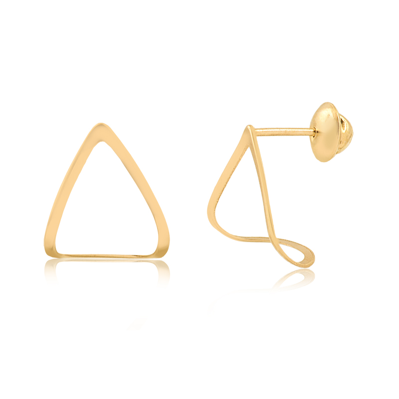 Brinco de Ouro Feminino Triângulo Curvado Ouro 18k