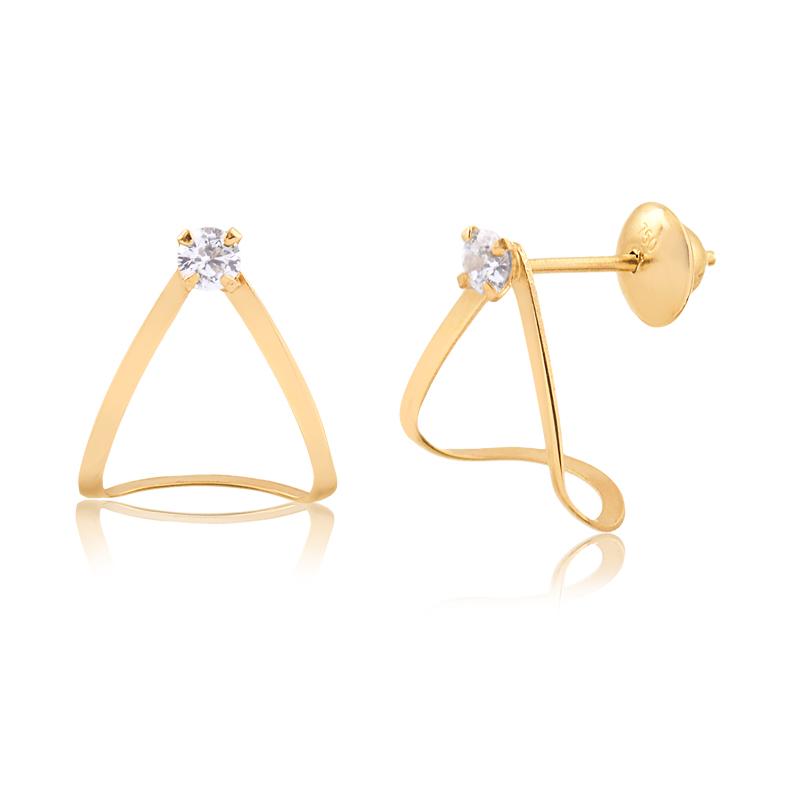 Brinco de Ouro Feminino Triângulo Curvado Zircônia Ouro 18k