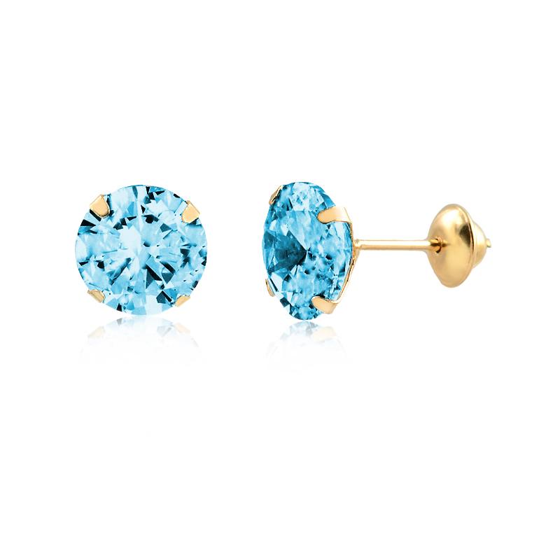 Brinco de Ouro Feminino Zircônia Azul 6 mm Ponto de Luz Ouro 18k