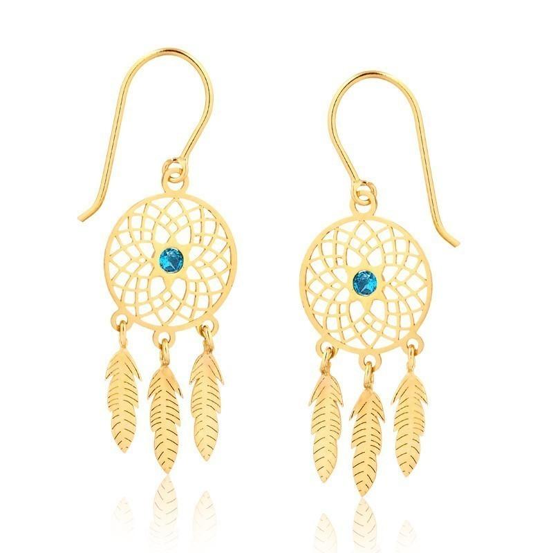 Brinco de Ouro Feminino Zircônia Azul Filtro dos Sonhos