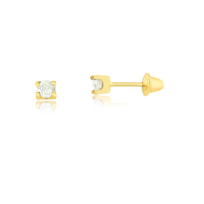 Brinco de Ouro Feminino Zircônia Branca 2,5 mm Ouro 18k