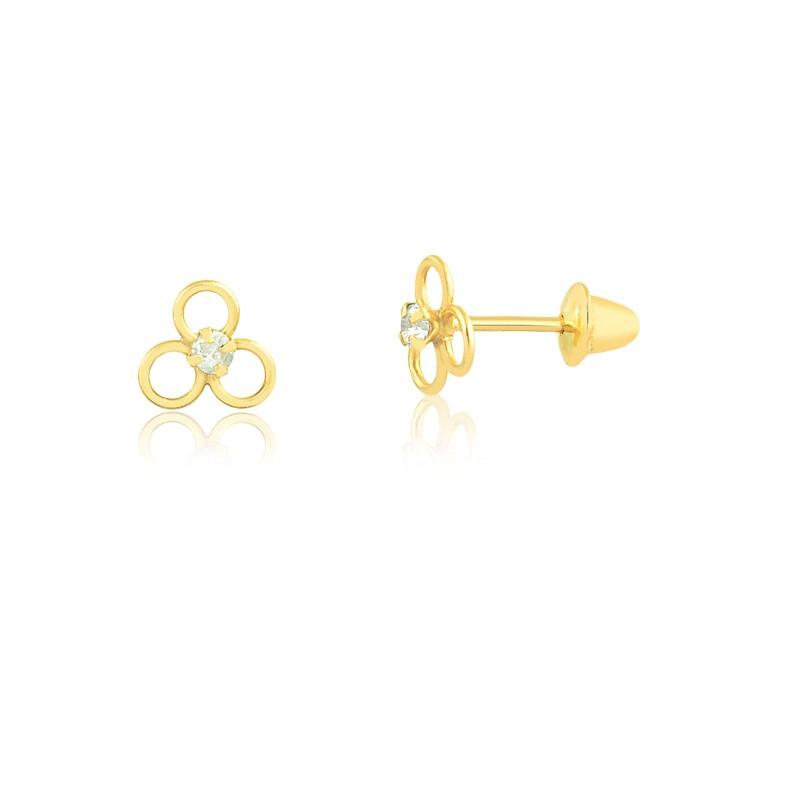 Brinco de Ouro Feminino Zircônia Branca Círculo Ouro 18k