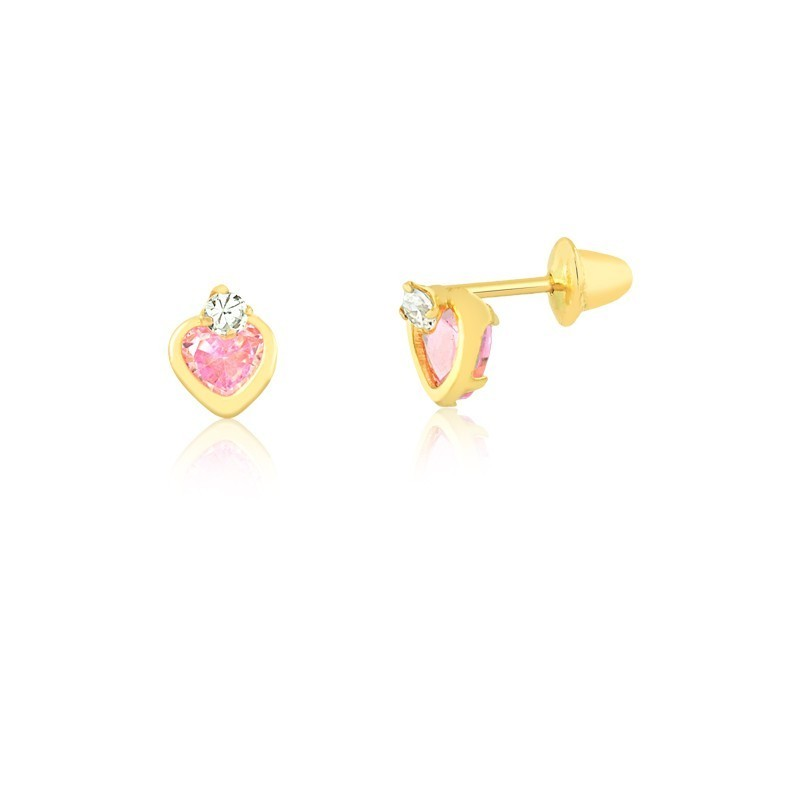 Brinco de Ouro Feminino Zircônia Coração Rosa Ouro 18k