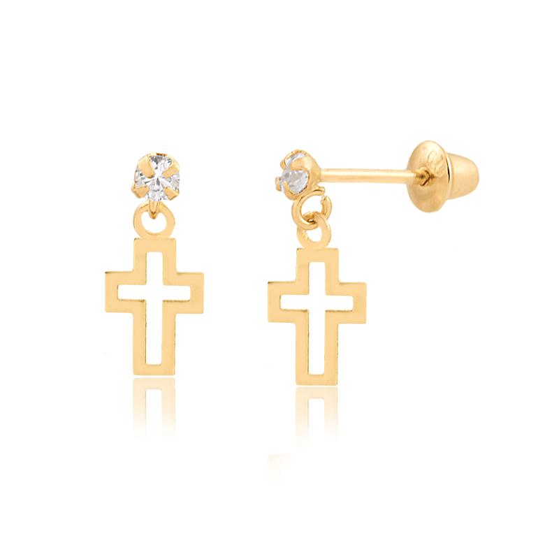 Brinco de Ouro Feminino Zircônia Cruz Vazada em Ouro 18k