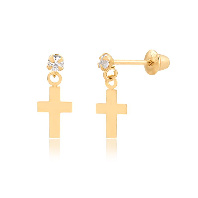 Brinco de Ouro Feminino Zircônia e Cruz Pendurada Ouro 18k