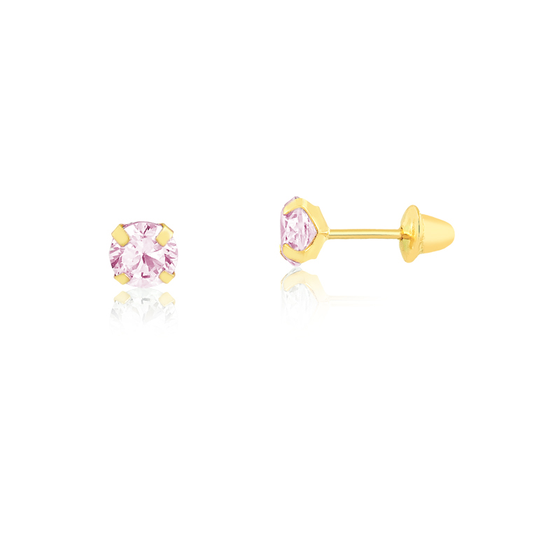 Brinco de Ouro Feminino Zircônia Rosa 2,5 mm Ouro 18k