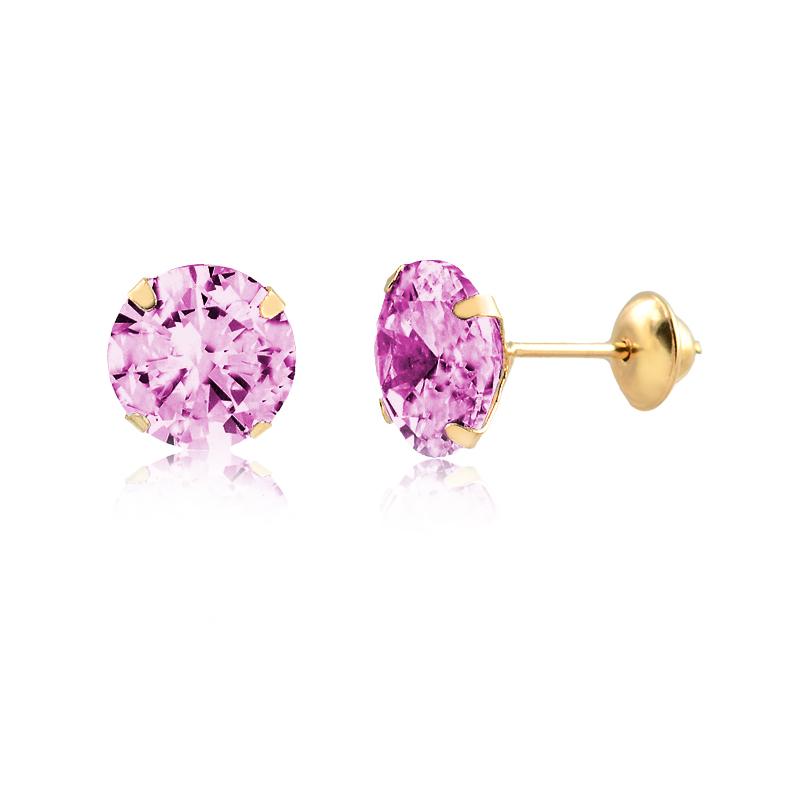 Brinco de Ouro Feminino Zircônia Rosa 6 mm Ponto de Luz