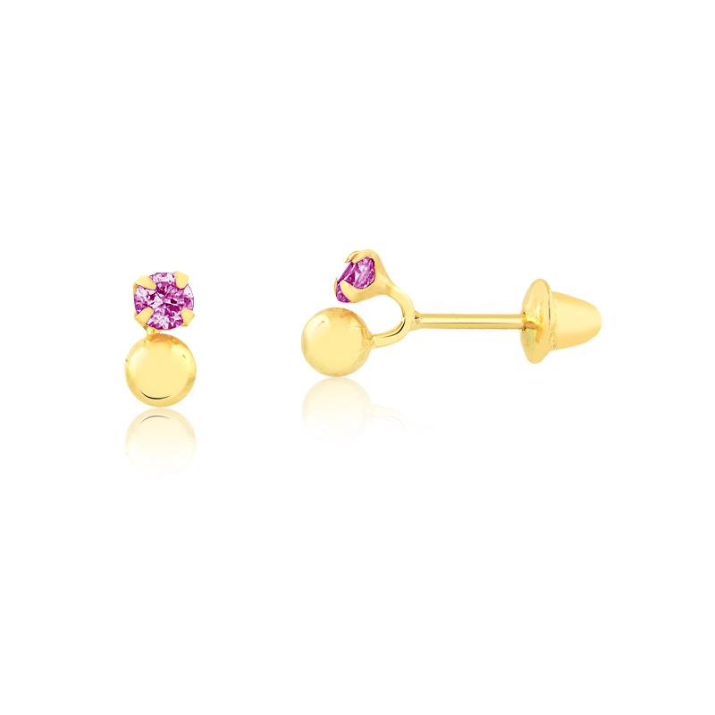 Brinco de Ouro Feminino Zircônia Rosa e Bolinha Ouro 18k
