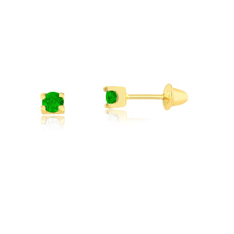 Brinco de Ouro Feminino Zircônia Verde 2,5 mm Ouro 18k