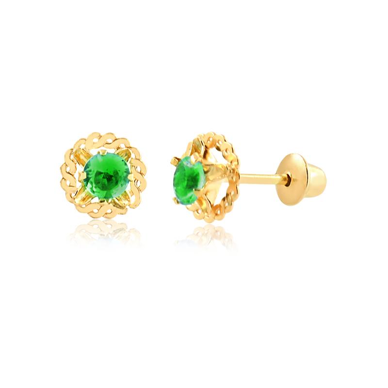 Brinco de Ouro Feminino Zircônia Verde Redondos Ouro 18k