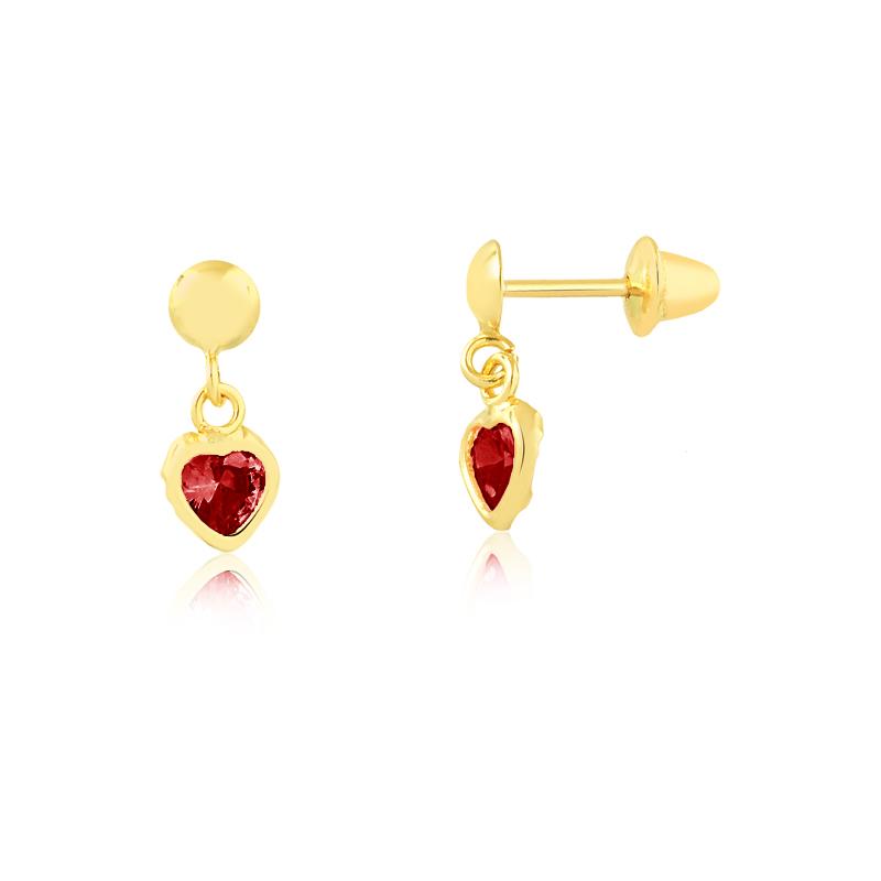 Brinco de Ouro Feminino Zircônia Vermelha Coração Ouro 18k