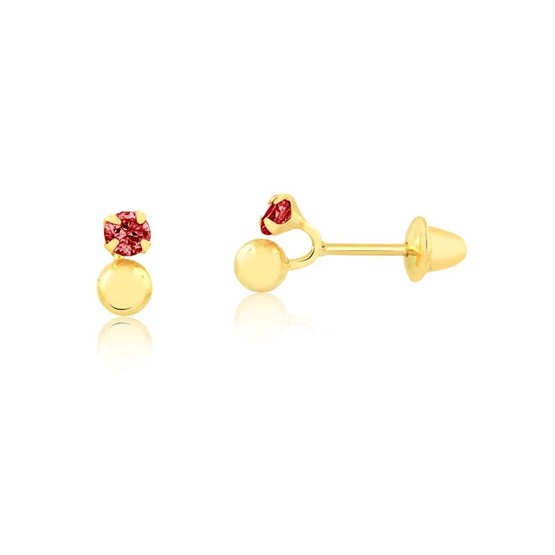 Brinco de Ouro Feminino Zircônia Vermelha e Bolinha Ouro 18k