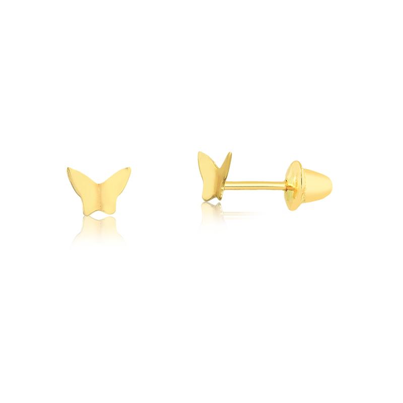 Brinco de Ouro Infantil Borboletinha em Ouro 18k