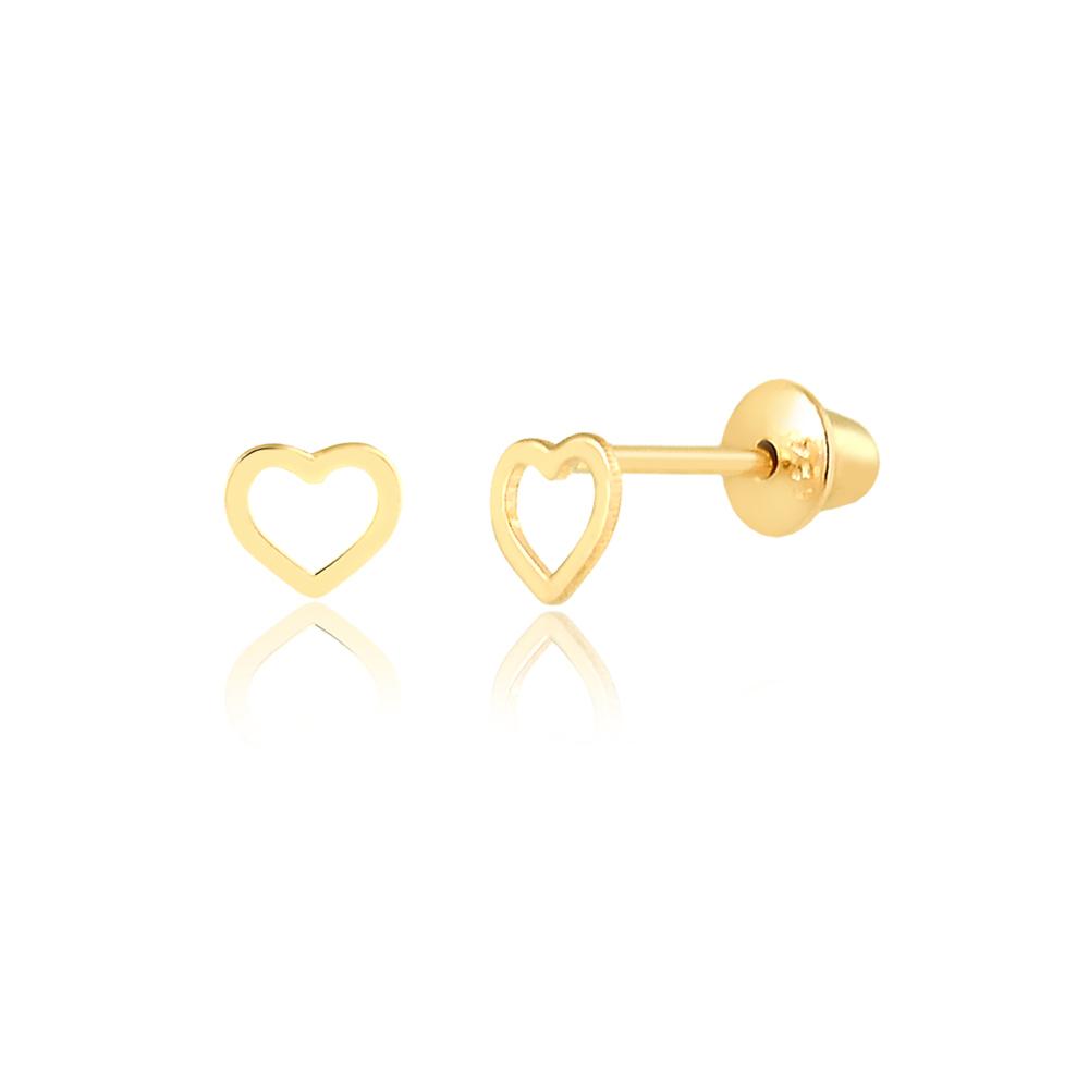 Brinco de Ouro Infantil Coração Delicado Bebês em Ouro 18k