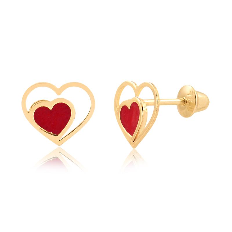 Brinco de Ouro Infantil Coração Vazado e Esmaltado Ouro 18k