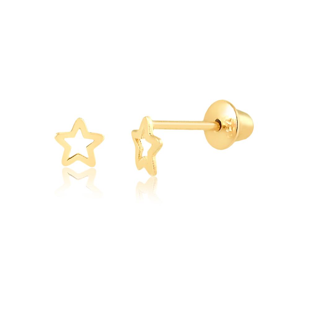 Brinco de Ouro Infantil Estrela Delicada Bebês em Ouro 18k