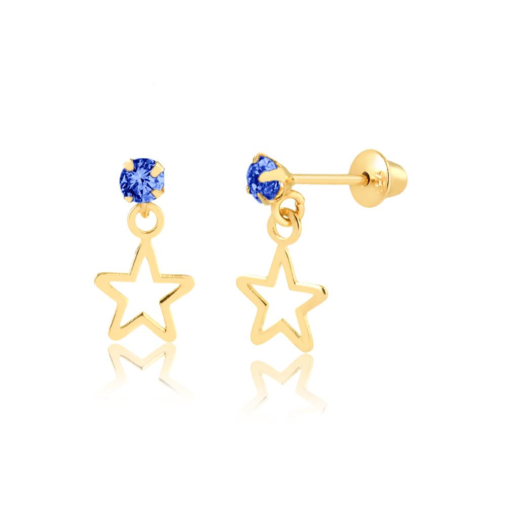 Brinco de Ouro Infantil Estrela Pendurada Zircônia Azul 18k