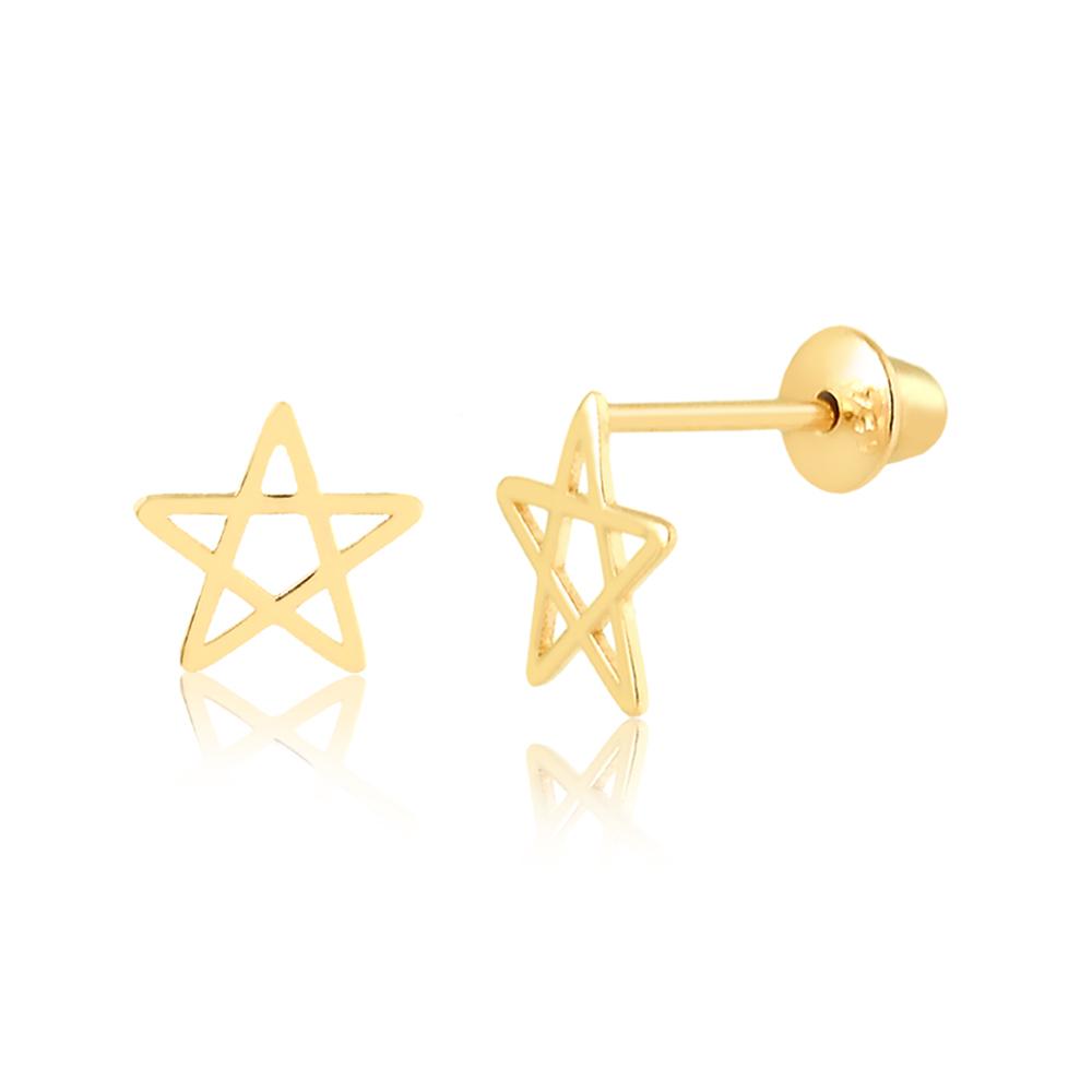 Brinco de Ouro Infantil Estrela Vazada em Ouro 18k