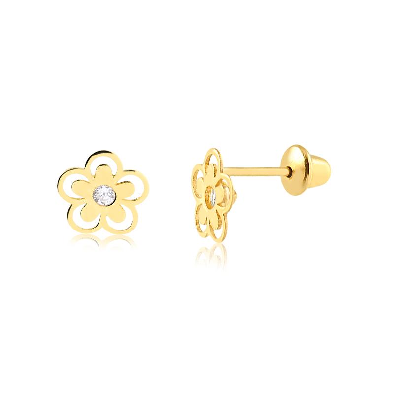 Brinco de Ouro Infantil Flor Vazada com Zircônia em Ouro 18k