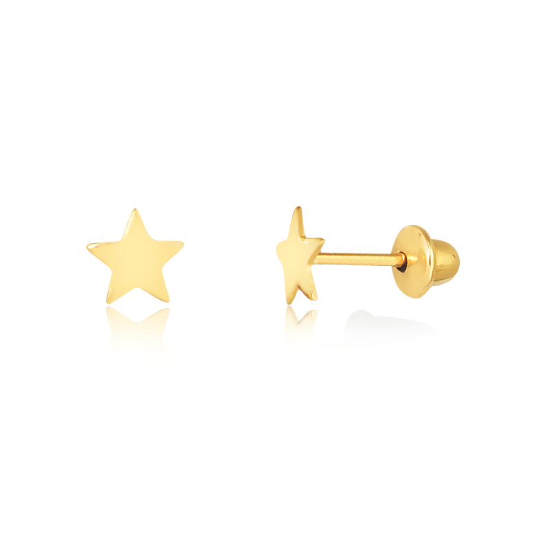 Brinco de Ouro Infantil Mini Estrela Brinco Ouro 18k