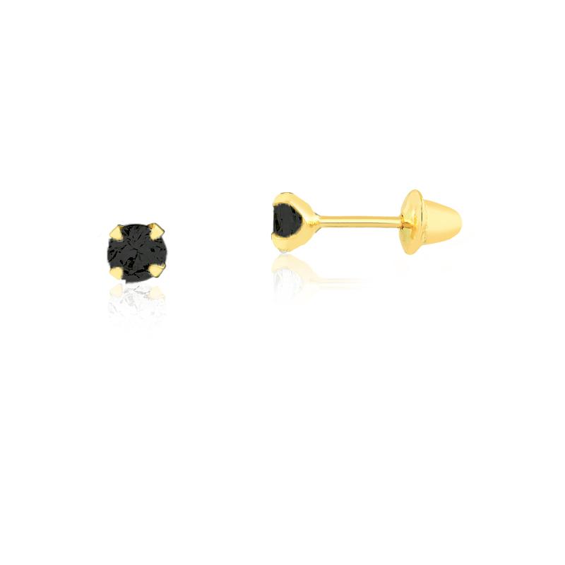 Brinco de Ouro Infantil Ponto de Luz Preto 3 mm Ouro 18k