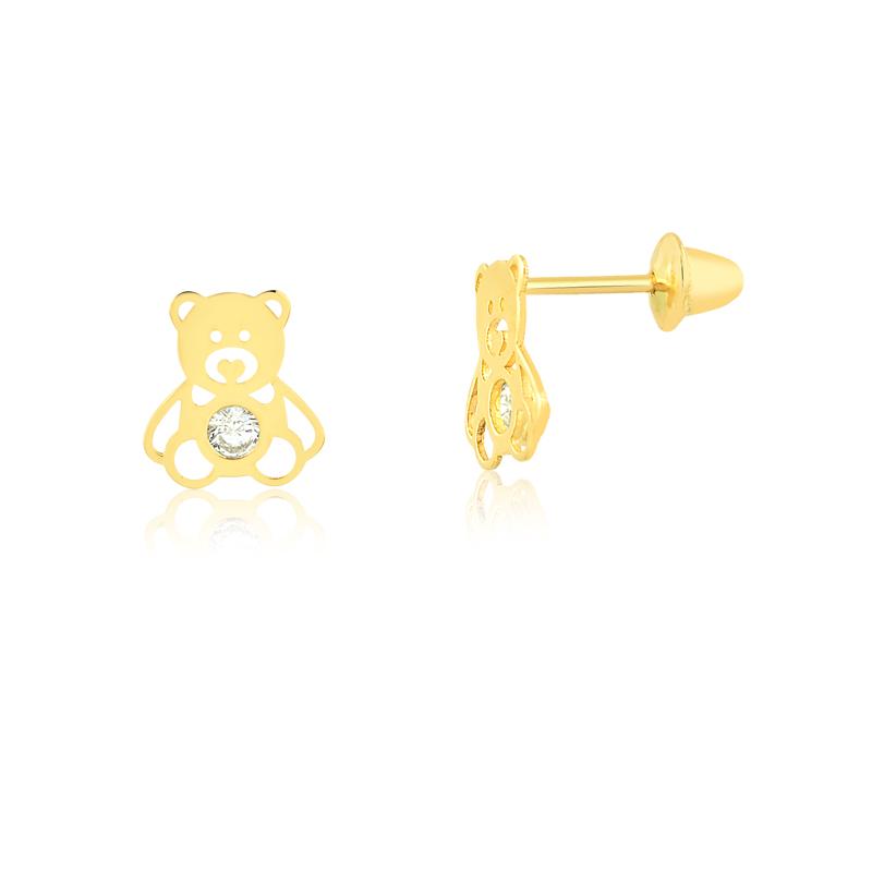 Brinco de Ouro Infantil Unicórnio Esmaltado Ouro 18k