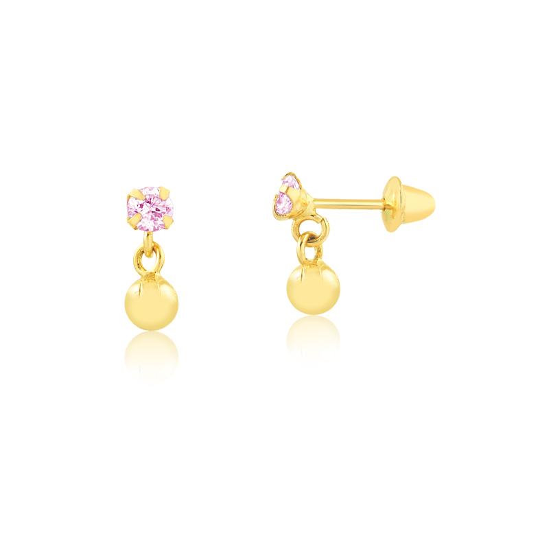 Brinco de Ouro Infantil Zircônia Rosa e Bolinha Ouro 18k