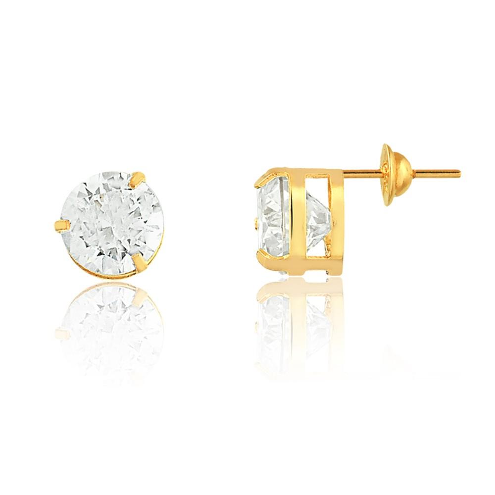 Brinco de Ouro Masculino e Feminino Ponto de Luz 6 mm Ouro 18k