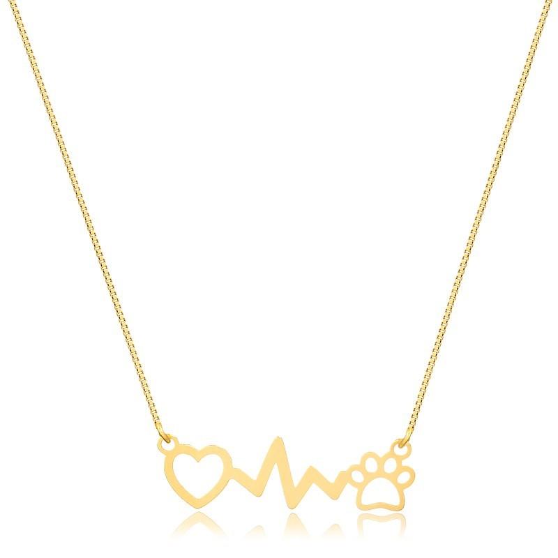 Colar de Ouro Feminino Coração Patinha Vital Ouro 18k