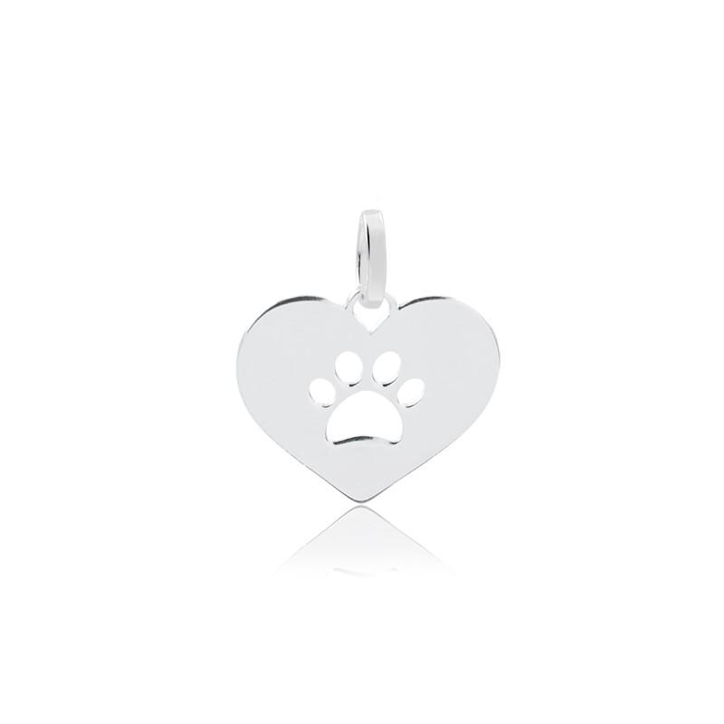 Colar de Prata Feminino Pata Pequena Pet Dog Prata 925