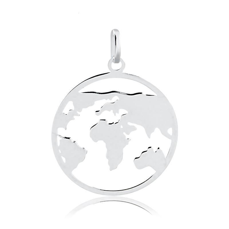 Colar de Prata Masculino e Feminino Mapa Mundi Prata 925