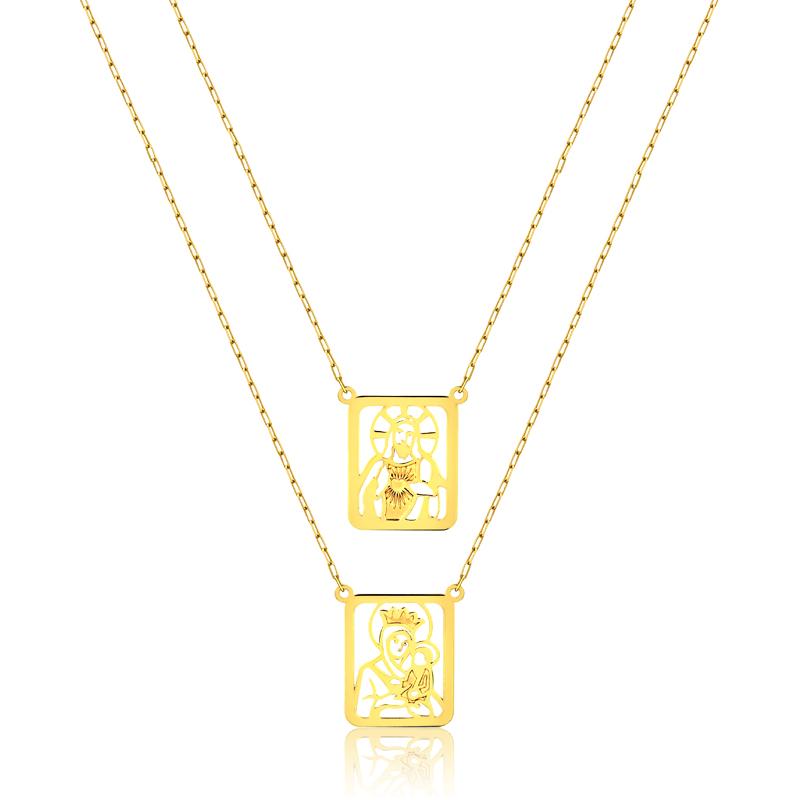 Escapulário de Ouro Sagrado Coração de Jesus e Nossa Senhora
