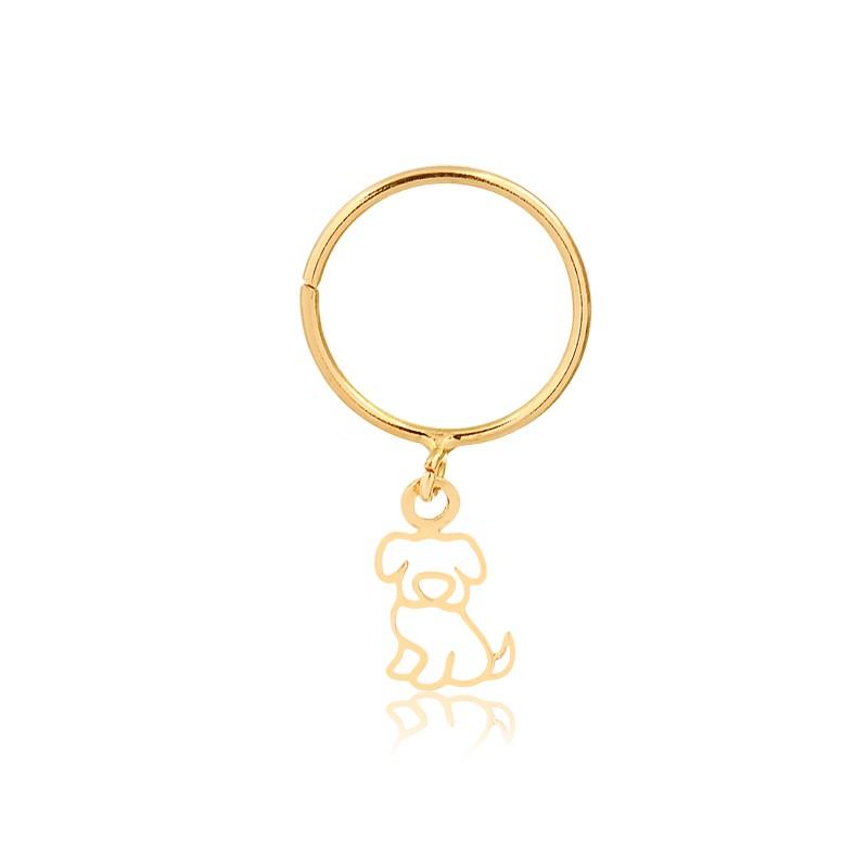 Piercing de Argola com Dog Pendurado em Ouro 18k