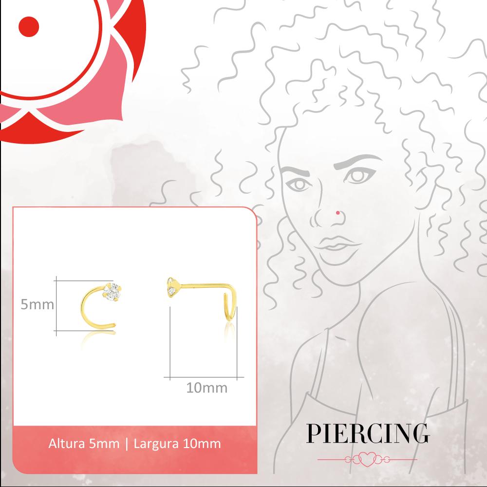 Piercing de Nariz Feminino Zircônia Nostril Ouro 18k