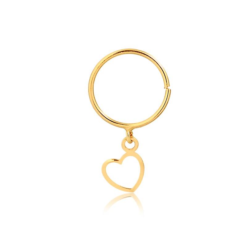 Piercing de Ouro Feminino Argola Coração Pendurado Ouro 18k