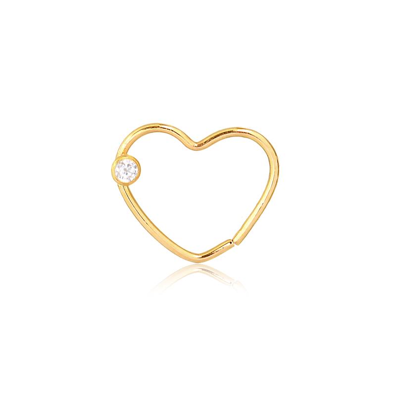 Piercing de Ouro Feminino Coração e Zircônia Hélix Ouro 18k