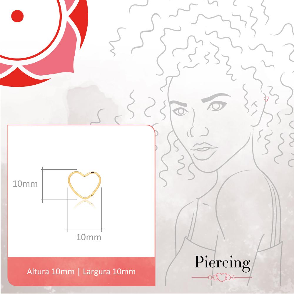 Piercing de Ouro Feminino Coração Nariz Piercing Nostril