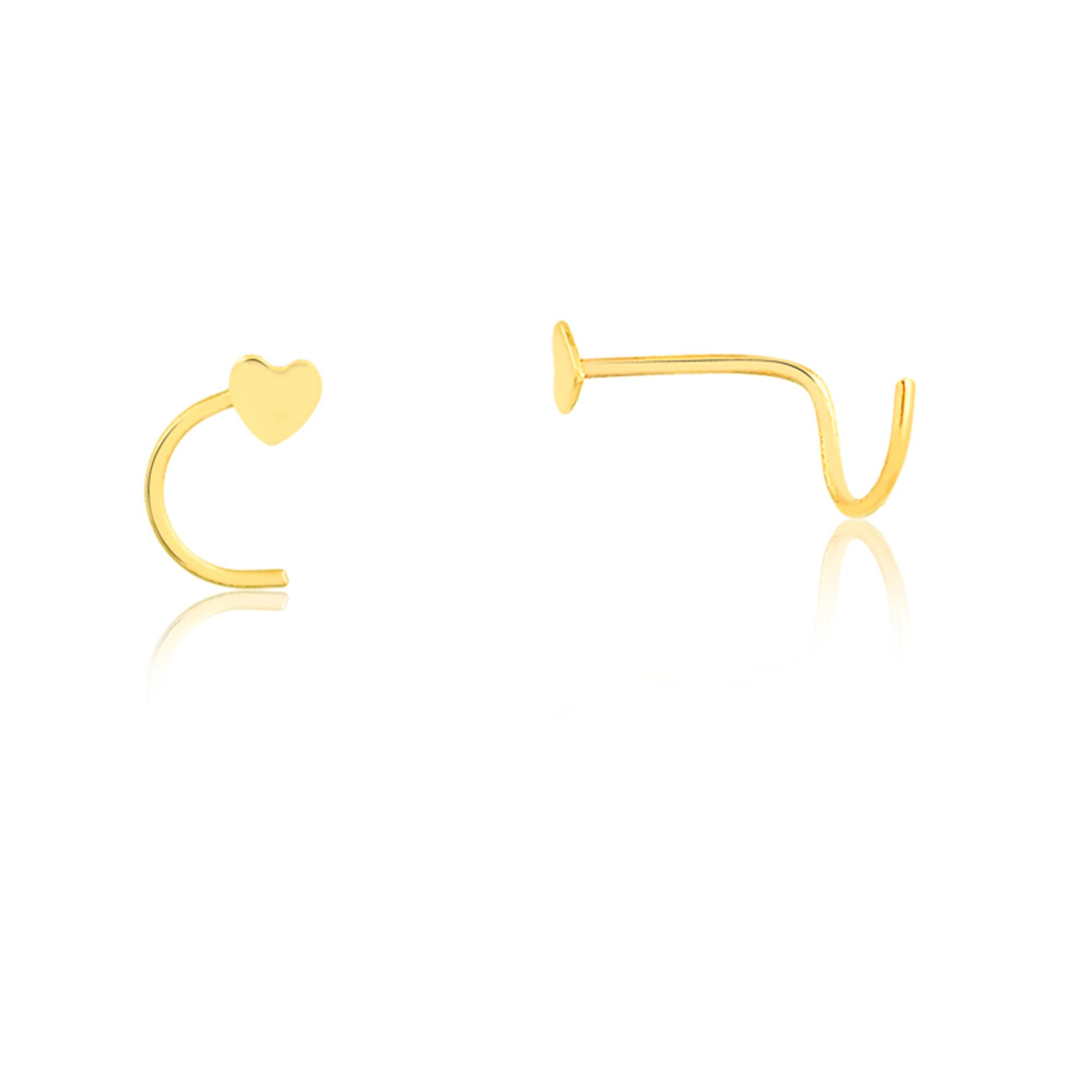 Piercing de Ouro Feminino Coração Piercing Nostril Ouro 18k