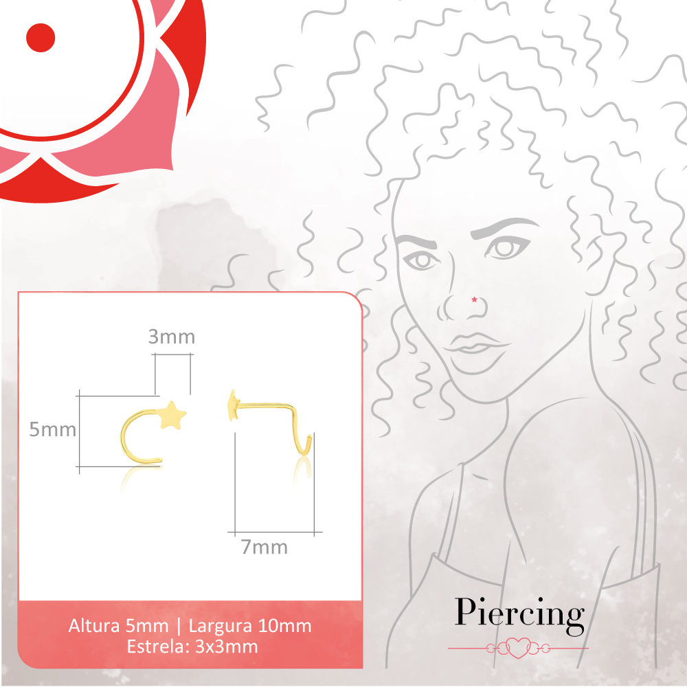 Piercing de Ouro Feminino Estrela Nariz Piercing Nostril