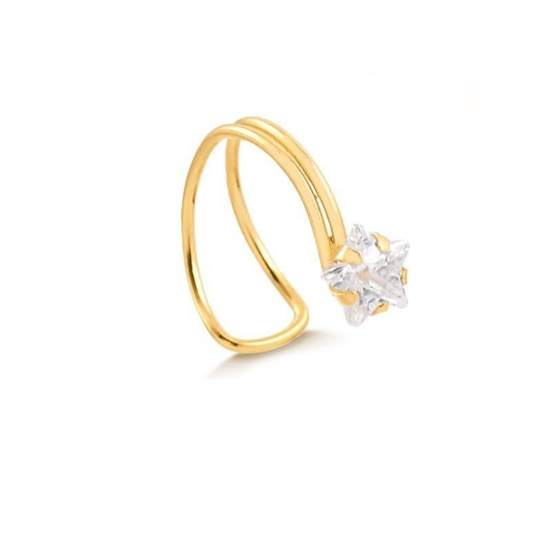 Piercing de Ouro Feminino Zircônia Estrela Ouro 18k