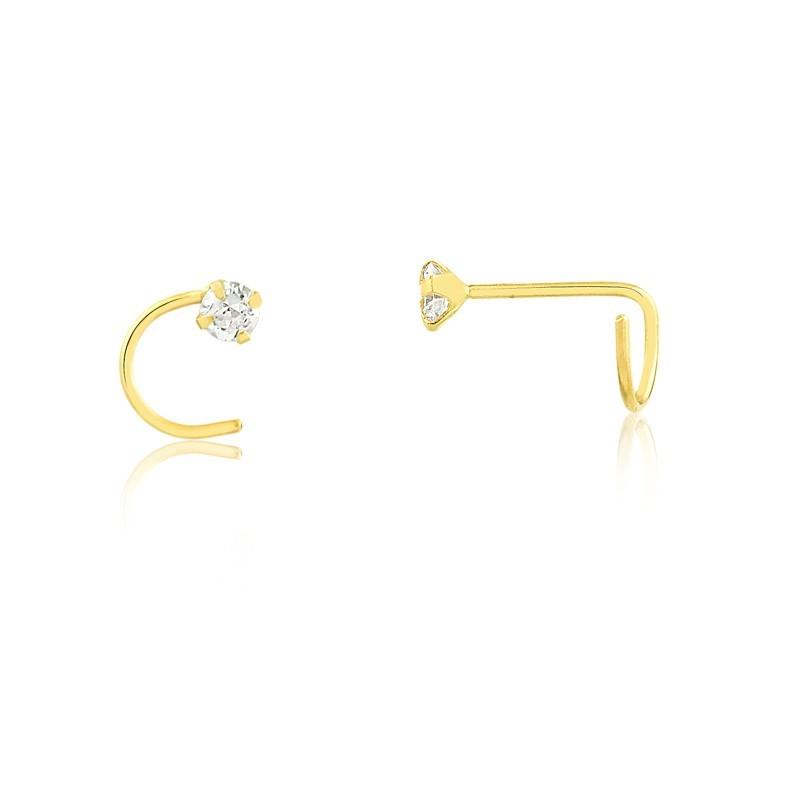 Piercing de Ouro Feminino Zircônia Nostril Ouro 18k