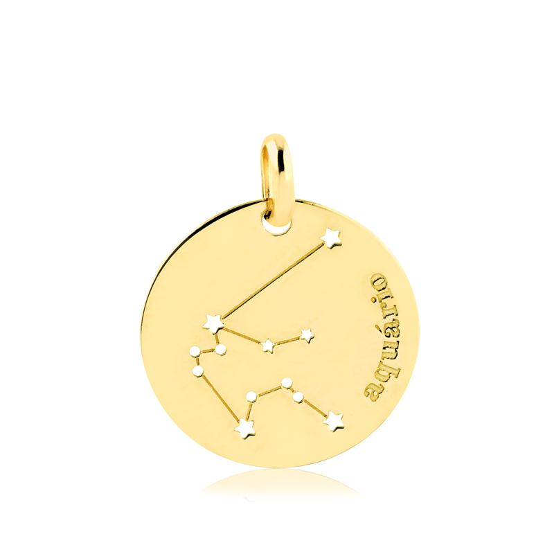 Pingente de Ouro Aquário Constelação do Signo em Ouro 18k