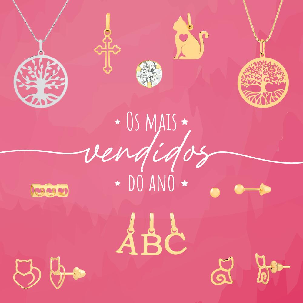Pingente de Ouro Áries Símbolo do Signo com Granada