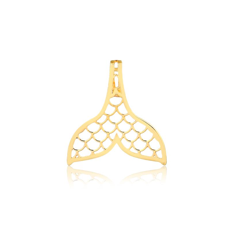 Pingente de Ouro Cauda de Sereia Escamas Vazadas Ouro 18k
