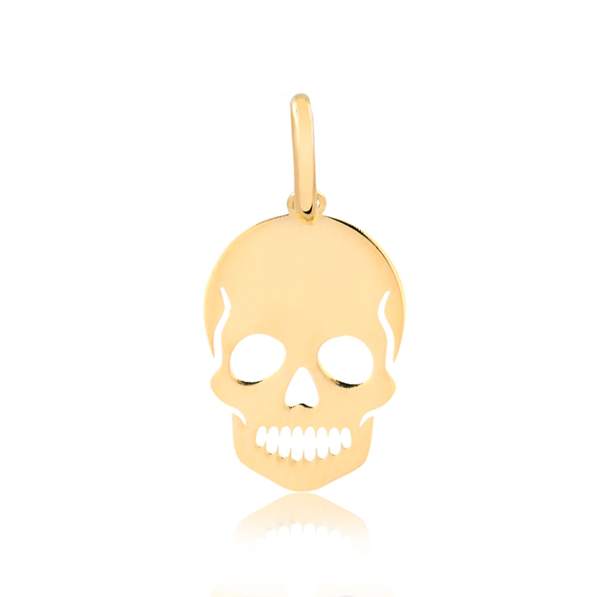 Pingente de Ouro Caveira Masculino e Feminino Skull Ouro 18k