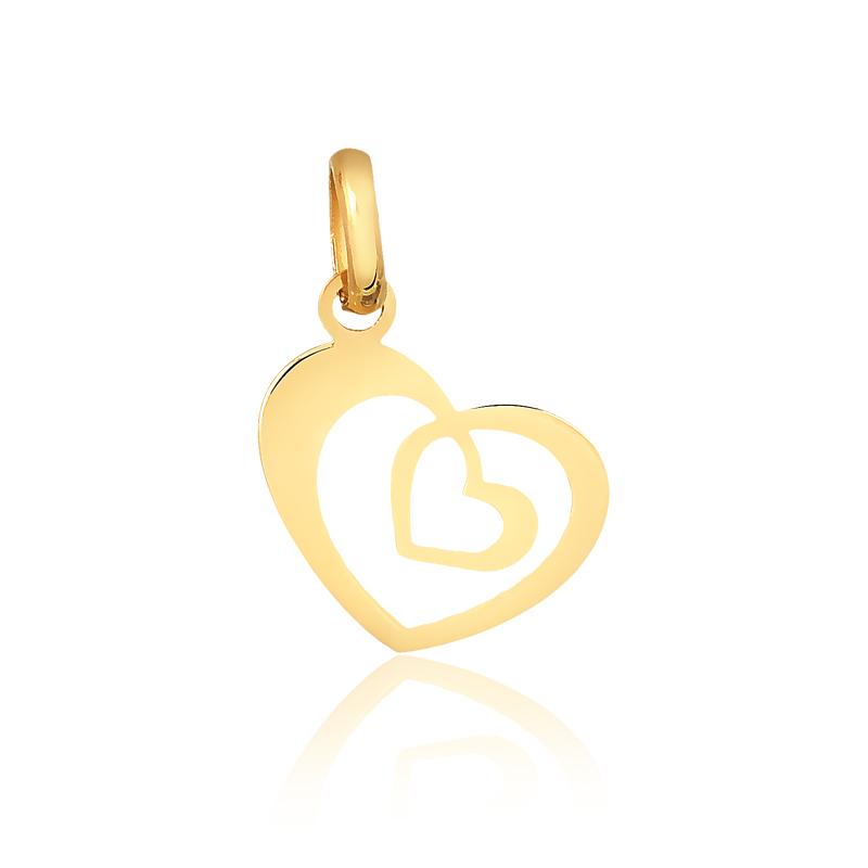 Pingente de Ouro Coração Duplo Vazado em Ouro 18k