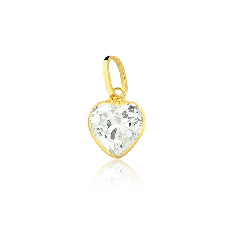 Pingente de Ouro Coração em Zircônia Branca Ouro 18k