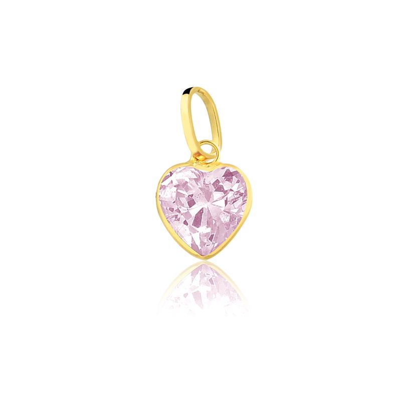 Pingente de Ouro Coração em Zircônia Rosa Ouro 18k