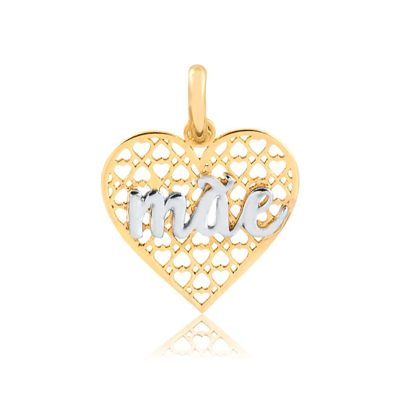 Pingente de Ouro Coração Escrito Mãe Ouro 18k