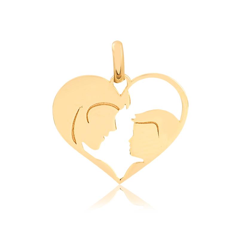 Pingente de Ouro Coração Mãe e Filho em Ouro 18k